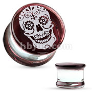 Sugar Skull Engraved Face Pyrex Glass Saddle Plug