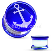 Anchor Engraved Face Blue Pylex Glass Saddle Plug