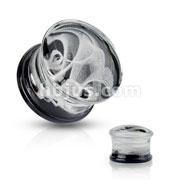 Pyrex Glass Double Flare Plugs Black back with White Swirling Smoke