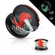Pyrex Glass Double Flare Plugs Black back with Red and White Mushroom on Glow in the Dark Sparkles