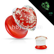 Pyrex Glass Double Flare Red and Clear Heart Shape Plugs with Glow in the Dark Spakles