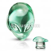 Pyrex Glass Green Alien Face Double Flare Plugs