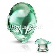Pyrex Glass Green Alien Face Double Flare Plugs