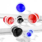 Concaved Front Single Flared Glass Plugs with Clear Silicone O-Ring