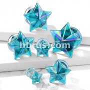Blue AB Finish Star Front Double Flared Glass Plugs
