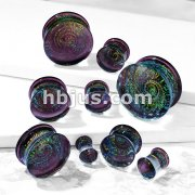 Purple Galaxy Swirl Double Flared Glass Plugs