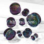 Purple Galaxy Swirl Double Flared Glass Plugs