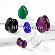 Tear Drop Glass Double Flare Saddle Plugs