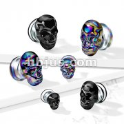 Skull Front Pyrex Glass Double Flare Plugs