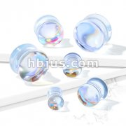 Iridescent Glass Double Flare Plugs