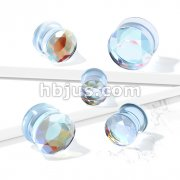 Iridescent Glass Faceted Double Flare Plug
