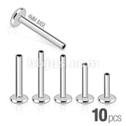 10pcs of 316L Surgical Steel Internally Threaded Labret Shaft