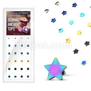 24 Pcs Assorted Flat 4mm Star Dermal Top Titanium IP over 316L Surgical Steel Internally Threaded Package