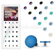 24 Pcs Assorted Flat 4mm Circle Dermal Top Titanium IP over 316L Surgical Steel Internally Threaded Package
