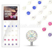 24 Pcs Assorted Mixed Clear Epoxy Covered Ferido Ball 316L Surgical Steel Dermal Anchor Tops Package