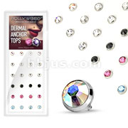 24 Pcs Assorted Gem Set Flat Bottom Dome 316L Surgical Steel Internally Threaded Dermal Anchors Package