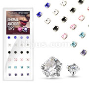 24 Pcs Assorted Mix Round Prong Set Gem Dermal Top 316L Surgical Steel Internally Threaded Package