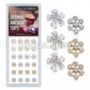 24 Pcs of Five Pear CZ Flower and Seven CZ Hexagonal Internally Threaded Dermal Anchor Tops 316L Surgical Steel Assorted Package