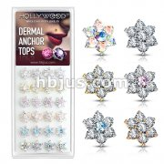 24 Pcs of 7 CZ Flower 316L Surgical Steel Internally Threaded Dermal Anchor Tops Assorted Package