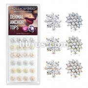 24 Pcs of Princess Cut CZ Crossed CZ Square and CZ Paved Sunburst 316L Surgical Steel Internally Threaded Dermal Anchor Tops Assorted Package