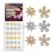 24 Pcs of Micro Paved CZ Starburst and Flower 316L Surgical Steel Internally Threaded Dermal Anchor Tops Assorted Package
