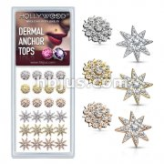 24 Pcs of CZ Paved Floral Filigree and CZ Paved Starburst Internally Threaded Dermal Anchor Tops 316L Surgical Steel Assorted Package