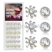 24 Pcs of Round CZ Centered Princess Cut CZ Square and Round Prong Set CZ Center with CZ Around 316L Surgical Steel Internally Threaded Dermal Anchor Tops Assorted Package