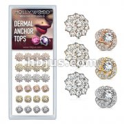 24 Pcs of CZ Paved Double Tier Round CZ Flower and Round CZ Center Rose Blossom Internally Threaded Dermal Anchor Tops 316L Surgical Steel Assorted Package