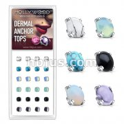 24 Pcs Pre Loaded Box of Semi Precious Stone Prong Set Internally Threaded Dermal Tops Pack