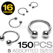 150 Pcs of 16 Gauge 316L Surgical Stainless Steel Mixed Size Horseshoe Circular Barbells