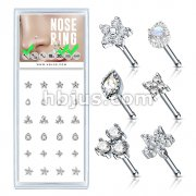 24 Pcs Pre Loaded Box of Mixed Styles 20ga 316L Surgical Steel Nose Stud Rings Pack (6 Styles x 4 Pcs)