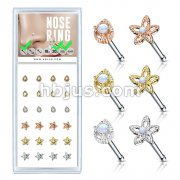 24 Pcs Pre Loaded Box of Opal Set Mixed Styles 20ga 316L Surgical Steel Nose Stud Rings Pack (6 Styles x 4 Pcs)