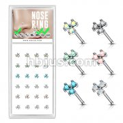 24 Pcs Pre Loaded Box of Three Stone Prong Set 20ga 316L Surgical Steel Nose Stud Rings Pack (6 Color x 4 Pcs)