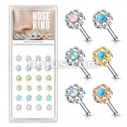 24 Pcs Pre Loaded Box of Turquoise and Opalite Centered Filigree Flower Top 316L Surgical Steel Nose Stud Rings Pack (6 Colors x 4 Pcs)