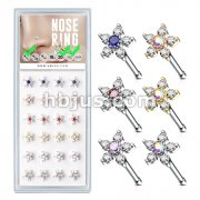 24 Pcs Pre Loaded Box of 6 CZ Flowers 20 Gauge 316L Surgical Steel Nose Stud Rings Pack (6 Colors x 4 Pcs)