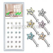 24 Pcs Pre Loaded Box of CZ Flower To 20ga 316L Surgical Steel Nose Stud Rings Pack (6 Colors x 4 Pcs)