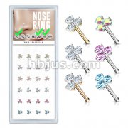 24 Pcs Box of Three CZ Stone Prong Set 20 Gauge 316L Surgical Steel Nose Stud Rings Pack (6 Colors x 4 Pcs)