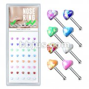 40 Pcs Pre Loaded Box of Opal Glitter Heart Top 316L Surgical Steel Nose Stud Rings Pack. (8 Colors x 5 Pcs