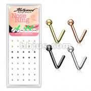40 Pcs Pre Loaded Ball End 316L Surgical Steel L Bend Nose Stud Rings Pack (4 Colors x 10 Pcs)