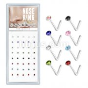 40 Pcs Mixed Colored Pre Loaded Box of 2mm Gem Top Flexible L-Bend Nose Rings