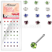 40 Pcs of 20 Gauge 316L Surgical Steel 3mm Mixed Color Prong Round CZ Nose Bone Package