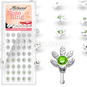 40 pcs. 20 Gauge .925 Sterling Silver Single Gem Potleaf Nose Bone Package