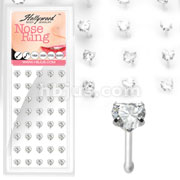 40 pcs. 20 Gauge 3mm Heart Prong .925 Sterling Silver Nose Bone Package (All Clear Gems)