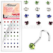 40 Pcs of 20 Gauge 316L Surgical Steel 3mm Mixed Color Prong Round CZ Nose Screw Package