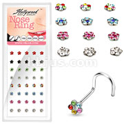 40 Pcs of 20 Gauge 316L Surgical Steel Mixed Color Multi Gem Paved Flower Nose Screw Package