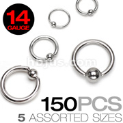 150 Pcs of 14 Gauge 316L Surgical Stainless Steel Mixed Size Captive Bead Rings