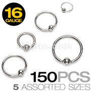 150 Pcs of 16 Gauge 316L Surgical Stainless Steel Mixed Size Captive Bead Rings