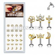 24 Pcs Pre Loaded Internally Theaded Assorted Styles Gold PlatedTop 316L Surgical Steel Stud Pack for Labret, Lip, Monroe and Ear Cartilage