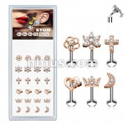 24 Pcs Pre Loaded Internally Theaded Assorted Styles RoseGold Plated Top 316L Surgical Steel Stud Pack for Labret, Lip, Monroe and Ear Cartilage