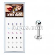 24 Pcs Pre Loaded Press fit Mixed Colo Gem Ball 316L Stud Pack for Labret, Lip, Monroe and Ear Cartilage